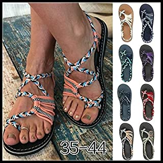 Women Summer Fashion Bandage Sandals Casual Open Toe Cute Flip-Flops Color Block Peep Toe Casual Flat Sandals Lace Up Beach Sandals Plus Size 35-44(Orange,US 6.5)