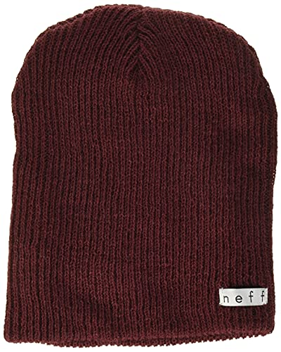 NEFF mens Daily Beanie, Warm, Slouchy, Soft Headwear Beanie Hat, Maroon, One Size US