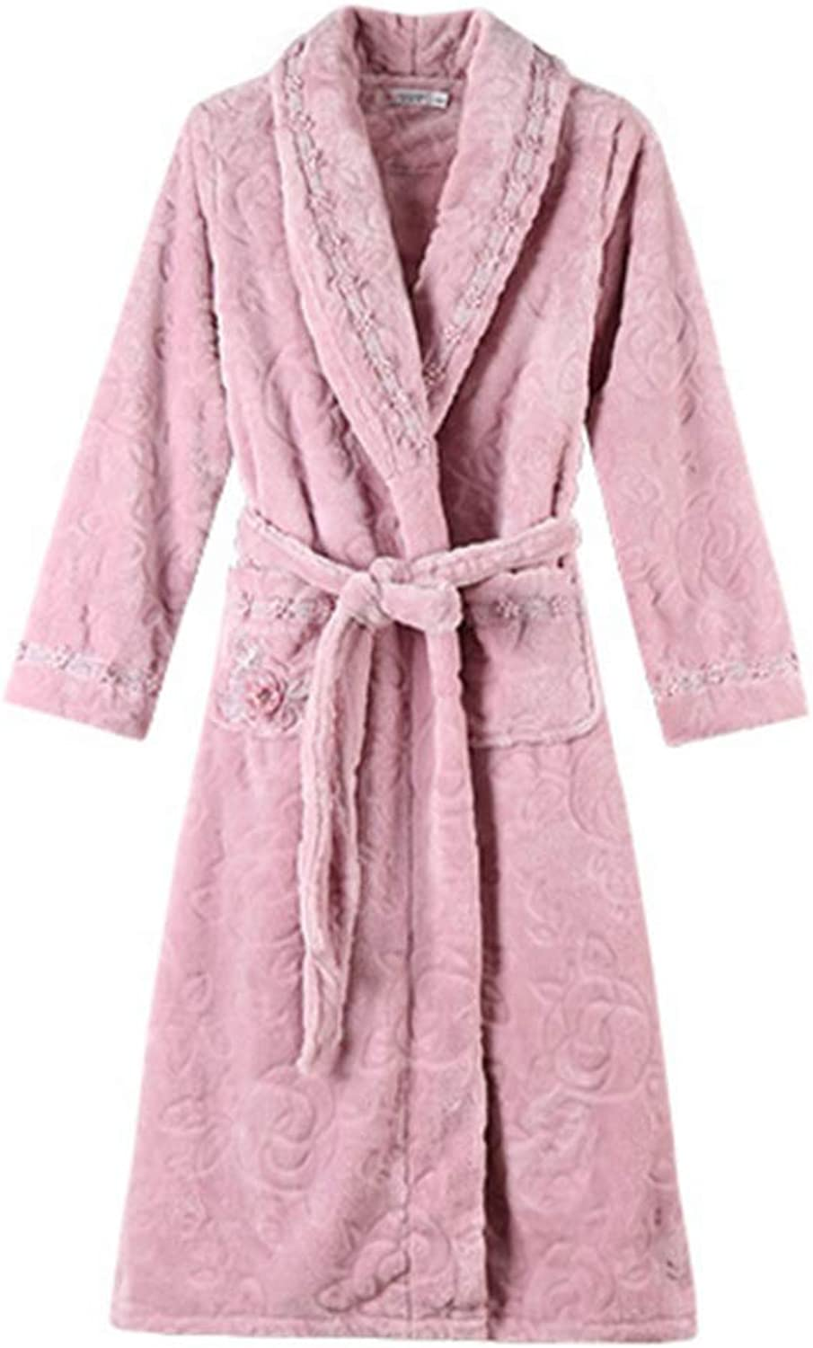 NAN Liang Luxury Nightgown Female Winter Thickening Warm Method Pajamas Cotton Bathrobes Bathrobes Long Autumn and Winter Models Home Service Soft (color   XXL)