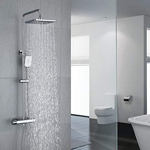 Umi. by Amazon - Duschset mit Thermostat 40°C Duschsystem Regendusche 3 funktionen eckig 829-1221mm Höhenverstellbar fürBadezimmer Chrom Messing H59 Korrosionsbeständig