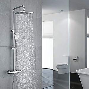 Umi. by Amazon - Columna de ducha Termostática 40℃ Altura Ajustable Ducha de Lluvia 3 Modos Ducha de Mano Columna de baño