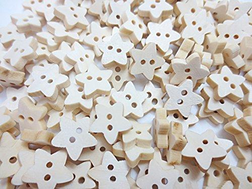 200個 ウッド ボタン 二つ穴 星形 スター 13mm ナチュラル木製 手芸材料のヒューイ h799