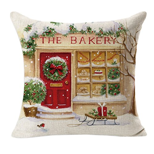 BZLine Funda de Almohada Decorativa de Navidad, Funda de cojín The Bakery para la Fiesta de Navidad