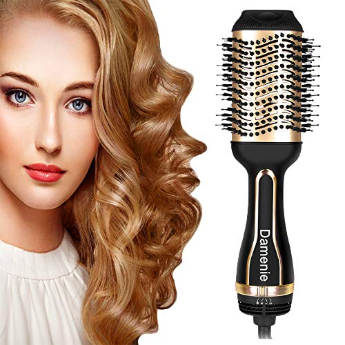 Damenie 5 in 1 Haartrockner, Upgrade Salon Warmluftbürste Hair Dryer & Volumizer Styler, Heißluftkamm Haarglätter Föhnen und Stylen Heißluftbürste für alle Haartypen (Schwarzes Gold)