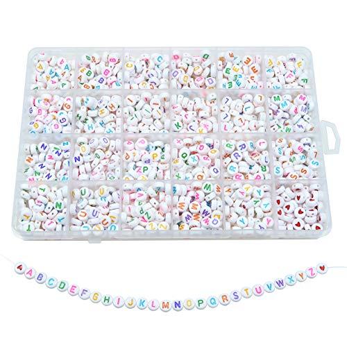 TOAOB 1440 Stück 4x7mm Weiß Buchstabenperlen Bunt Wort A bis Z und Liebe Herz Rund Acryl Spacer Perlen für Schmuckherstellung