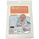 Snibbs Protector de colchón impermeable de 60 x 120 cm con correas de esquina, membrana de TPU transpirable, uso de cuna