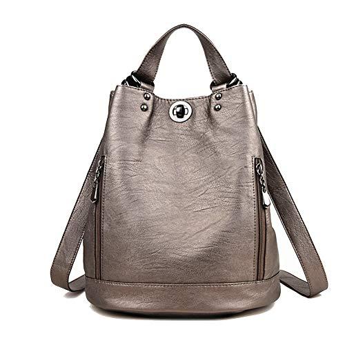 DokinReich Fashion Mode Damen Rucksack PU Leder Damentasche Schultertasche Handbag Rucksäcke Frauen Rucksack 2 in 1 Multifunktionaler, M, Grau