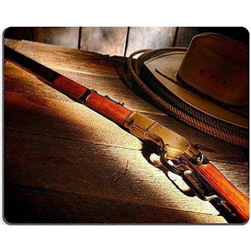 Muis Pad Rubber Id West Legend Antiek Western Rifle Shotgun Met Cowboy Hoed Lasso Lariat Op Oude Houten Tafel In Een Ranch Schuur