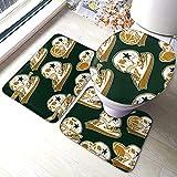Vintage Sports All Star Crests con calaveras Imagen vectorial Juego de alfombras de baño Alfombras de baño suaves para alfombra de piso Alfombra de contorno antideslizante con respaldo de goma 3 pieza