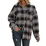 Lomelomme Chaqueta de leñador para mujer, camisa a cuadros de manga larga, blusa holgada, estilo urbano para el tiempo libre, Negro , L