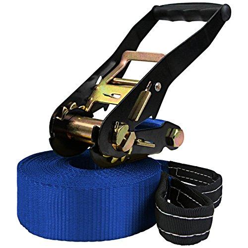 ALPIDEX Slackline 15 m para Principiantes y Expertos, Carga máxima 2 toneladas, Incl. una Bolsa de Transporte, Color:Azul