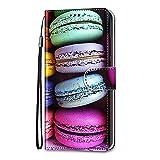 Nadoli Handyhülle Leder für Xiaomi Redmi Note 10 5G,Bunt Bemalt Sandwich Kuchen Trageschlaufe Kartenfach Magnet Ständer Schutzhülle Brieftasche Etui