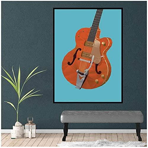 LIUYUEKAI Guitarra polígono pared arte póster impresiones en lienzo cuadros de pintura para decoración de pared del hogar-40x60cm sin marco