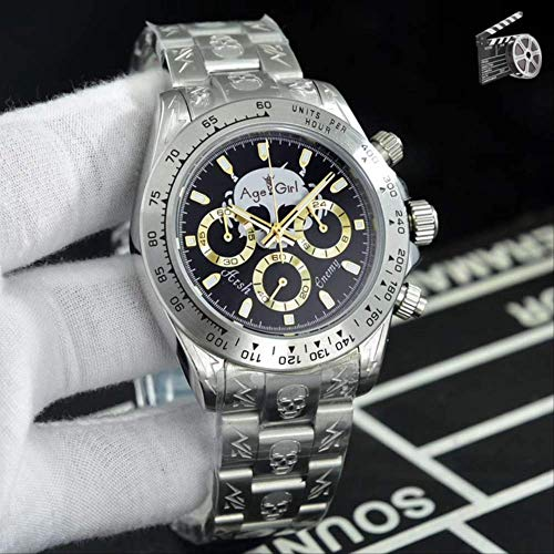 N-A Klassische Mode Männer Silber Schädel Armband Limited Edition 904l Edelstahl Japanischer Quarz Chronograph Saphir Uhr AAA +Gold