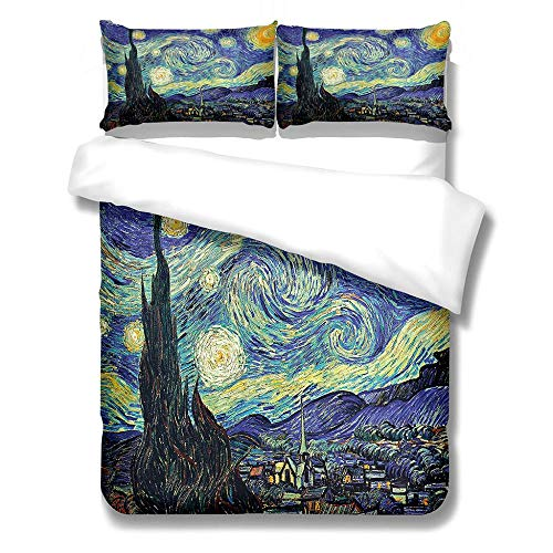 aakkjjzz Duvet Cover Set Ultra Soft 3 Pcs Bedding Set With Zipper Closure 100% Polyester Van Gogh Star and Moon Night Quilt Duvet Cover 220X260cm and 2 Pieces Pillowcases 50X75cm for Bedroom
