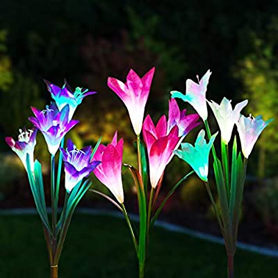 Gioyonil Solar Lights Outdoor: 3 Packs Multi-Color Changing LED Solar Power Lily Flower Garden Stake Light for Patio Yard Lawn Pathway Walkway Decoration