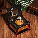 古典的なドレッシングテーブルオルゴール回転バレエガールジュエリー収納ボックス化粧鏡付きクリスマス誕生日ギフトデスクトップ装飾 C