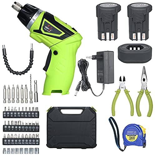 Destornillador eléctrico inalámbrico de liberación rápida de 6.0 Nm 2x Iones de litio recargables de 1500 mAh con 40 accesorios Alicates y cinta métrica 7 niveles de torque Mango de 2 posicione