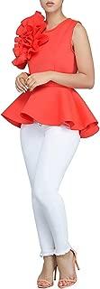 PrettySoul Women's Elegant Round Neck Flounce Ruffle Peplum Blouse Shirt Tops Clubwear
