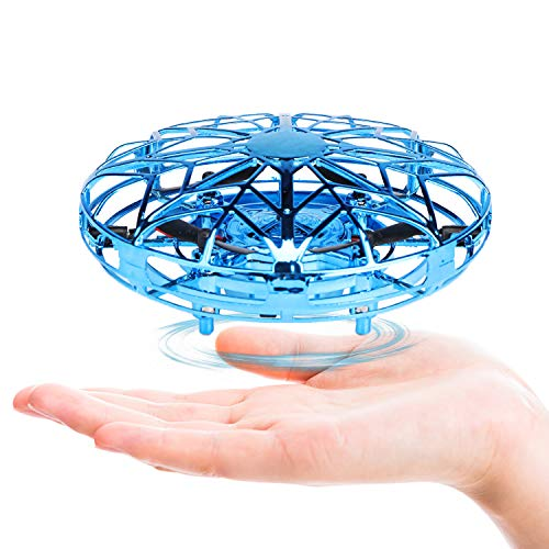 Fansteck Mini Drone, RC UFO Helicóptero, Juguete Volador Interactivo de inducción infrarrojo Recargable, 360° Gira detección automática de obstáculos, Regalo para niños y Adultos.