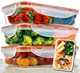 Bento Lunch Box 3pcs set 24oz - Meal Prep Containers Microwavable - BPA Free - External Leak Proof -...