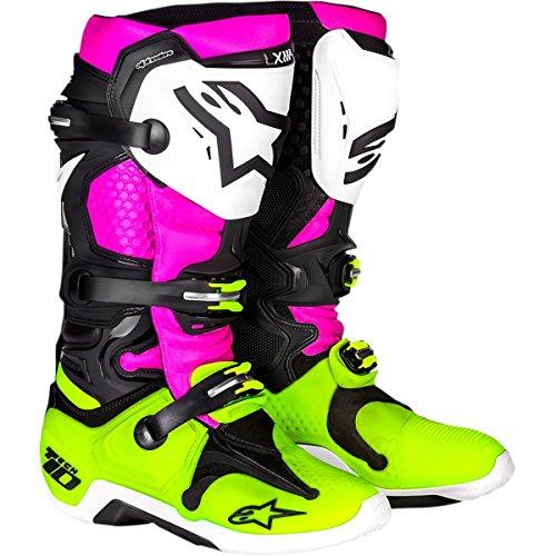 Alpinestars Le Radiant Tech 10 - Botas unisex para adulto, color negro, blanco y rosa, talla 8