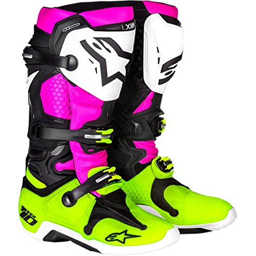 Alpinestars Le Radiant Tech 10 - Botas unisex para adulto (negro/blanco/rosa, talla 8)