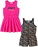 Juicy Couture Girls' 2 Pieces Pack Romper and Dress, Navy/Pink, 6