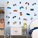 IARTTOP Video Game Wall Decal (22pcs), Creative Gaming Controller for Boys Room Kids Bedroom Decor Colorful Gamer Theme Decoration
