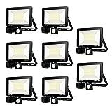 8packs 100W Faretto LED da Esterno con Sensore di Movimento, bianco caldo (3000K), IP65 Impermeabile LED Esterno, Illuminazione per Parcheggio, Ingresso, Corridoio, Garage