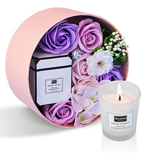 ANBET Caja Redonda de Flores de jabón para Mujeres con Velas perfumadas Rosa Artificial y Cera Vegetal Natural Aromaterapia Regalo de baño para Aniversario, día de San Valentín, día del Maestro