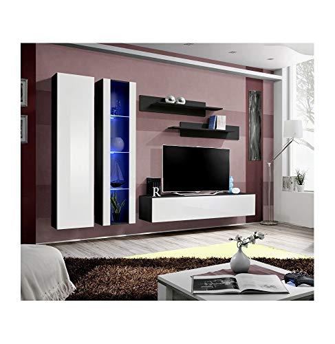 Banc TV avec LED - 4 éléments - Blanc et noir