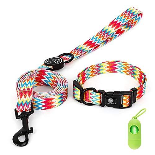 Hundehalsband und Leinen-Set Klassische Geometrie Welligkeit Hundehalsband & Hundeleine Sicherheitsset, Schnellverschluss-Schnalle, Verstellbaren Hundehalsbändern für große mittlere und kleine Hunde