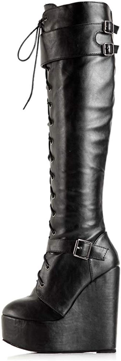 High Heel PU Leather Motorcycle Boots Women Wedges Platform Lace Up Thigh High Boots Over The Knee Boots