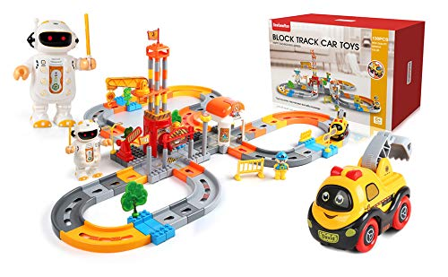 BeebeeRun Juego de Tren de 132 Piezas, Carril de Tren para niños,...