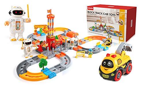 Treno Giocattolo per Bambini 130 PCS,Set di Binari del Treno, Pista Macchinine,Set Ferrovia,Binario per Bambini con Auto Elettriche e Robot,Giochi Educativi per Bambini Regalo Ragazza Ragazzo