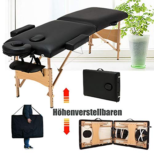 Mobile Massageliege 2 Zonen höhenverstellbar Klappbar Massageliege Holzfüße Kosmetik Massagetisch für Massage Schönheit Tätowieren Therapie Behandlung Salon Reiki Healing (Schwarz)