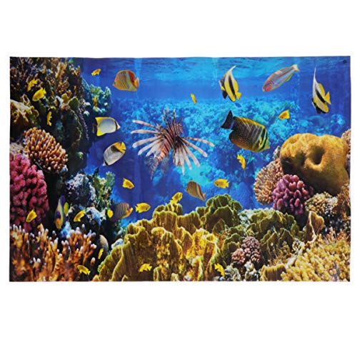 POPETPOP Aquarium Background-Fish Tank Wallpaper The Underwater World Aquarium Backdrop Sticker PVC Adhesive Decor Paper Cling Decals Poster 24' W x 16' H