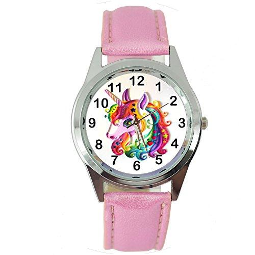 TAPORT® - Reloj de cuarzo con correa de piel rosa y unicornio, E1 + batería de repuesto + bolsa de regalo