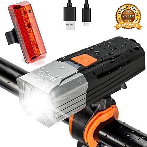 BIGO Luces Bicicleta Delantera y Trasera Recargable USB LED Luz Bicicleta de...