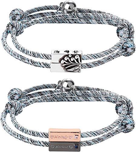 Adramata 4Set Magnetic Couples Bracelets Mutual Attraction Relationship Matching Bracelet Braided Rope Charm Pendants Bracelet Set His & Hers Bracelets Couple Jewelry for Women Men