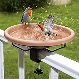 Hanizi 12 Inches Deck Mounted Bird Bath Bowl Spa with Sturdy Steel Clamp, Unheated Lightweight Detachable