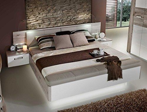 expendio Doppelbett Rubio 1 Sandeiche weiß Hochglanz 180x200 Ehebett mit 2X Nachtkonsole Beleuchtung Schlafzimmer Nachttisch Nako