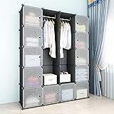SIMPDIY Armoire Portable Cabinet en Plastique 12+2 Cubes 144x36x180cm Grande Capacité Stockage de Vêtements...