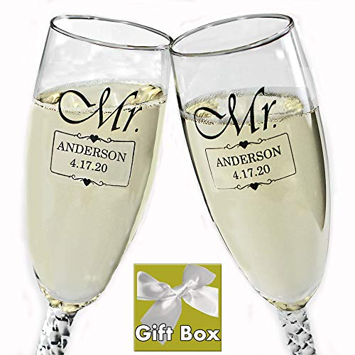 All Things Weddings Personalized MR and MR Same Sex Wedding Glass Champagne Toasting Flutes, Reception or Engagement, Black Engraved Customized for Gay Couple, Set of 2, Gift Box included