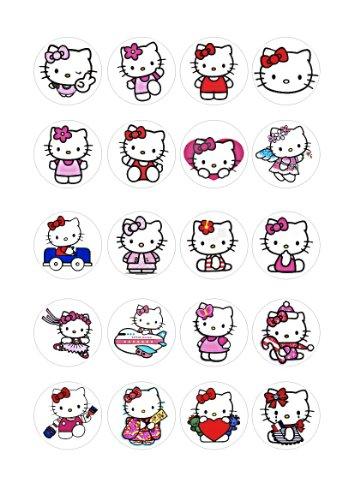 20 x Essbare Hello Kitty Kuchen Topper (Tortenaufleger, Bedruckte Oblaten, Oblatenaufleger)