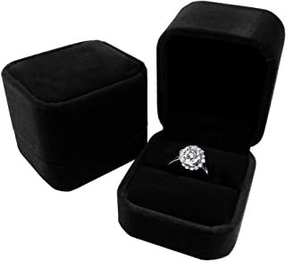 duoduodesign Classic Velvet Engagement Ring Box (Black)