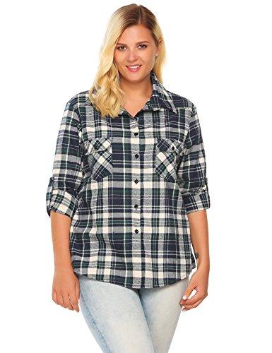 Corgy Women's Plus Size Classic Button Down Flannel Bigshirt Green 22