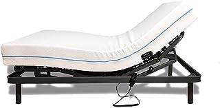 Duérmete Online Cama Eléctrica Articulada 5 Planos con Bastidor Reforzado + Colchón Ecodorsal HR Reversible, Madera, Gris Grafito, 90x180