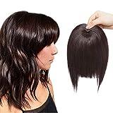 SEGO Frangia Finta Folta Capelli Finti per Frangetta Extension Clip Top Testa 40g Hair Bang Fringe Posticci Toupet Donna - Castano Scuro